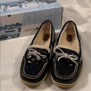 Sperry Black Patent Leather & Silver Glitter Shoes